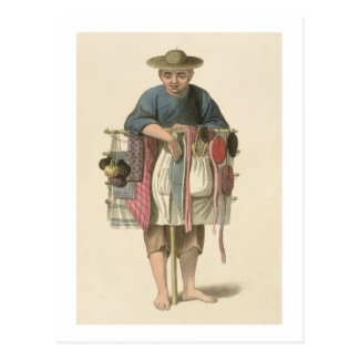 A Pedlar, plate 17 from 'The Costume of China', en Postcard