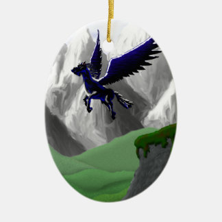 A Pegasus Flying Double-Sided Oval Ceramic Christmas Ornament