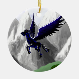 A Pegasus Flying Double-Sided Ceramic Round Christmas Ornament