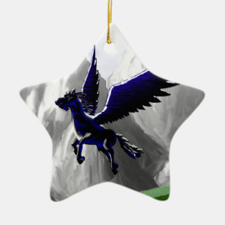 A Pegasus Flying Double-Sided Star Ceramic Christmas Ornament