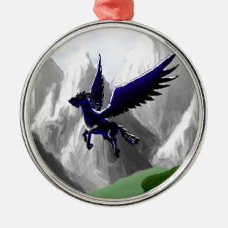 A Pegasus Flying Round Metal Christmas Ornament