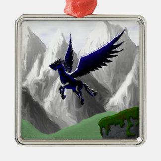 A Pegasus Flying Square Metal Christmas Ornament