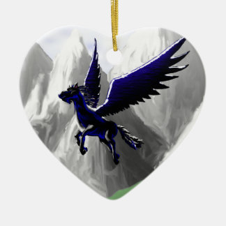 A Pegasus Flying Double-Sided Heart Ceramic Christmas Ornament