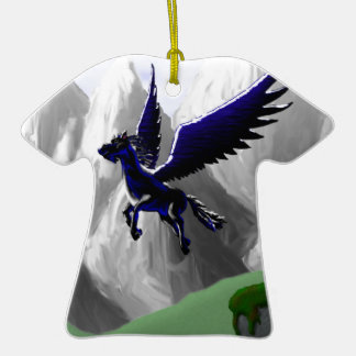A Pegasus Flying Double-Sided T-Shirt Ceramic Christmas Ornament