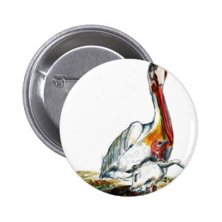 A Pelican and Chick, watercolor pencil Pinback Buttons