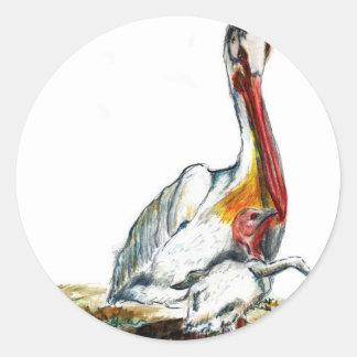 A Pelican and Chick, watercolor pencil Classic Round Sticker
