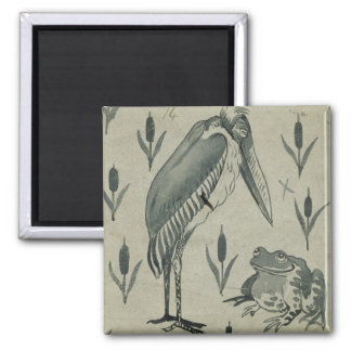 A Pelican and Frog in Conversation (w/c on paper) 2 Inch Square Magnet