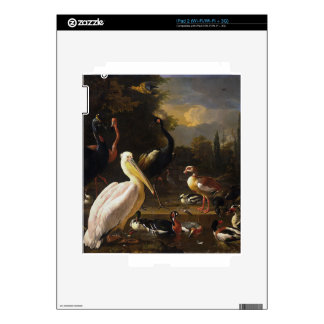 A Pelican and Other Birds Near a Pool iPad 2 Decals