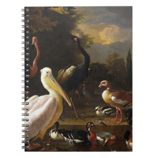 A Pelican and Other Birds Near a Pool Spiral Notebook