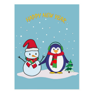 A penguin and a snowman, Happy New Year! Postcard