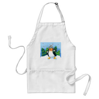 A penguin near the christmas trees adult apron