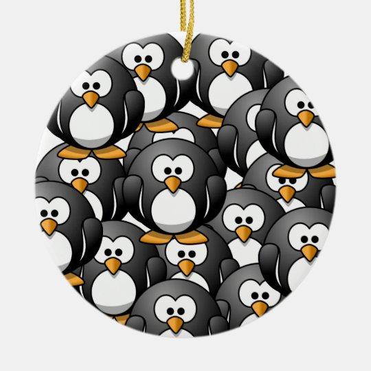 a penguin overload ceramic ornament