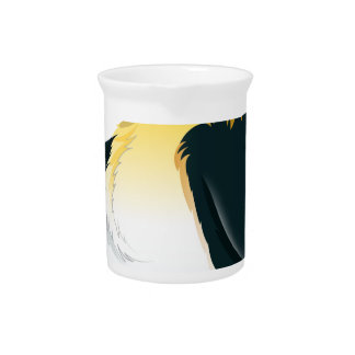 A penguin walking beverage pitchers