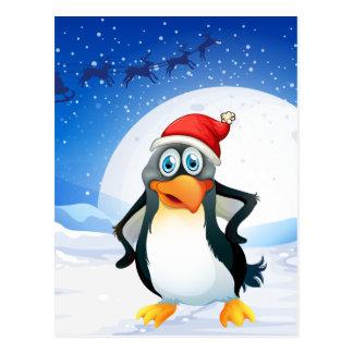 A penguin wearing Santa's hat Postcard