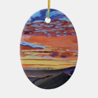 A perfect moment in time Double-Sided oval ceramic christmas ornament