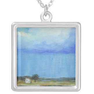 A Perfect Storm Abstract Art Landscape Painting Silver Plated Necklace