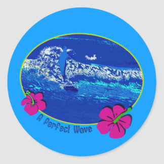 A Perfect Wave Surfing Design Classic Round Sticker