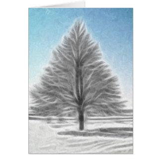 A Perfect Winter Tree Enhanced Oil Card