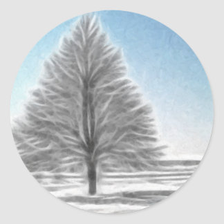 A Perfect Winter Tree Enhanced Oil Classic Round Sticker