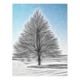 A Perfect Winter Tree Enhanced Oil Postcard