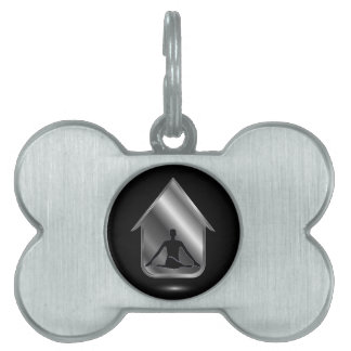 A person meditating or performing yoga pet ID tag