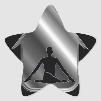 A person meditating or performing yoga star sticker