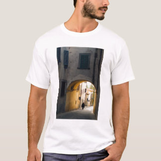 A person walking under an arch, down a hill in T-Shirt