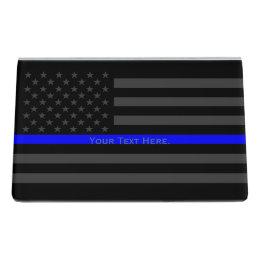 Decorative business card holders cases zazzle a personalized american thin blue line decor desk business card holder colourmoves