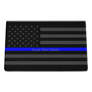 A Personalized American Thin Blue Line Decor Desk Business Card Holder