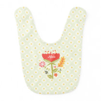A personalized floral baby bib for baby girl