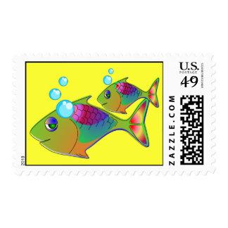 A pescado en colores sello