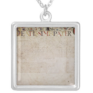 A petition from the German banking family Square Pendant Necklace