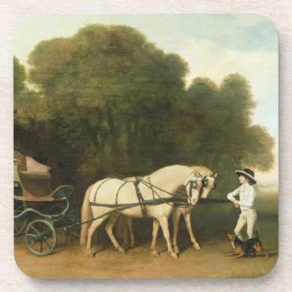 A Phaeton with a Pair of Cream Ponies in the Charg Drink Coaster