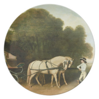 A Phaeton with a Pair of Cream Ponies in the Charg Dinner Plates