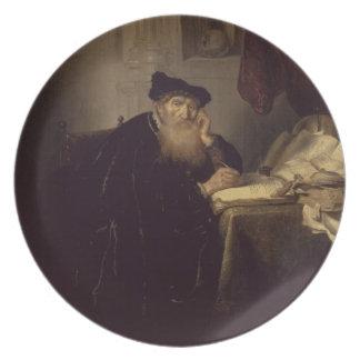 A Philosopher, 1635 (oil on panel) Dinner Plate