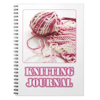 A photograph of Pink Hand Knitting and Needles Notebook