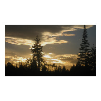 a pic of a sunset by pearl lake poster