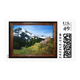 A picnic spot with a beautiful view postage