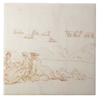 A Picnic: Two Ladies and a Gentleman (brown wash w Ceramic Tile