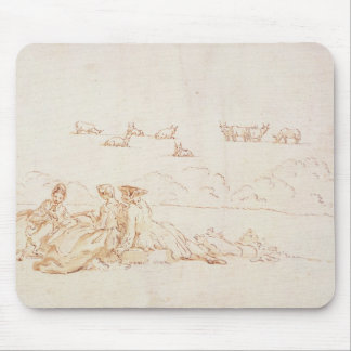 A Picnic: Two Ladies and a Gentleman (brown wash w Mouse Pad