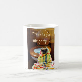 a picture of a pug dog standing next to a toilet. coffee mug