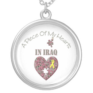 A Piece of My Hearts In Iraq Silver Plated Necklace