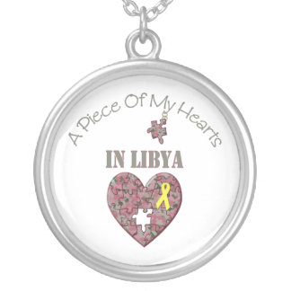 A Piece of My Hearts In Libya Round Pendant Necklace