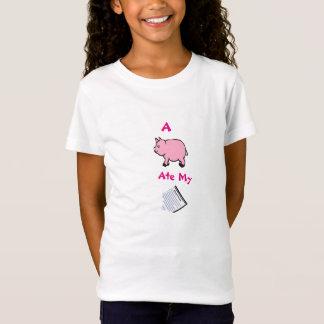 A Pig Ate My Homework, Pink Girls' Bella T-Shirt