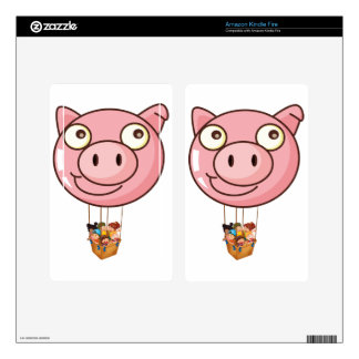 A pig balloon carrying a basket with kids kindle fire decals