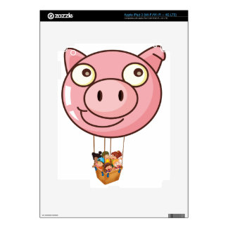 A pig balloon carrying a basket with kids skin for iPad 3