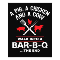 A Pig Chicken Cow Walk Into A Bar Funny BBQ Flyer