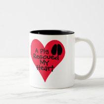 A Pig Rescued My Heart Two-Tone Coffee Mug