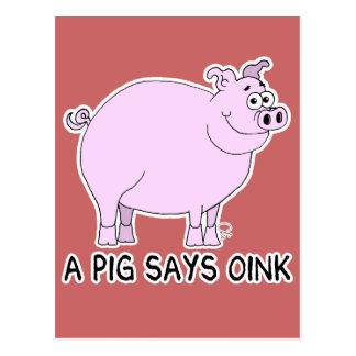 A Pig Says Oink Postcard