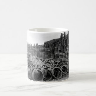 A pile of 85,000 solid tires for_War image Coffee Mug